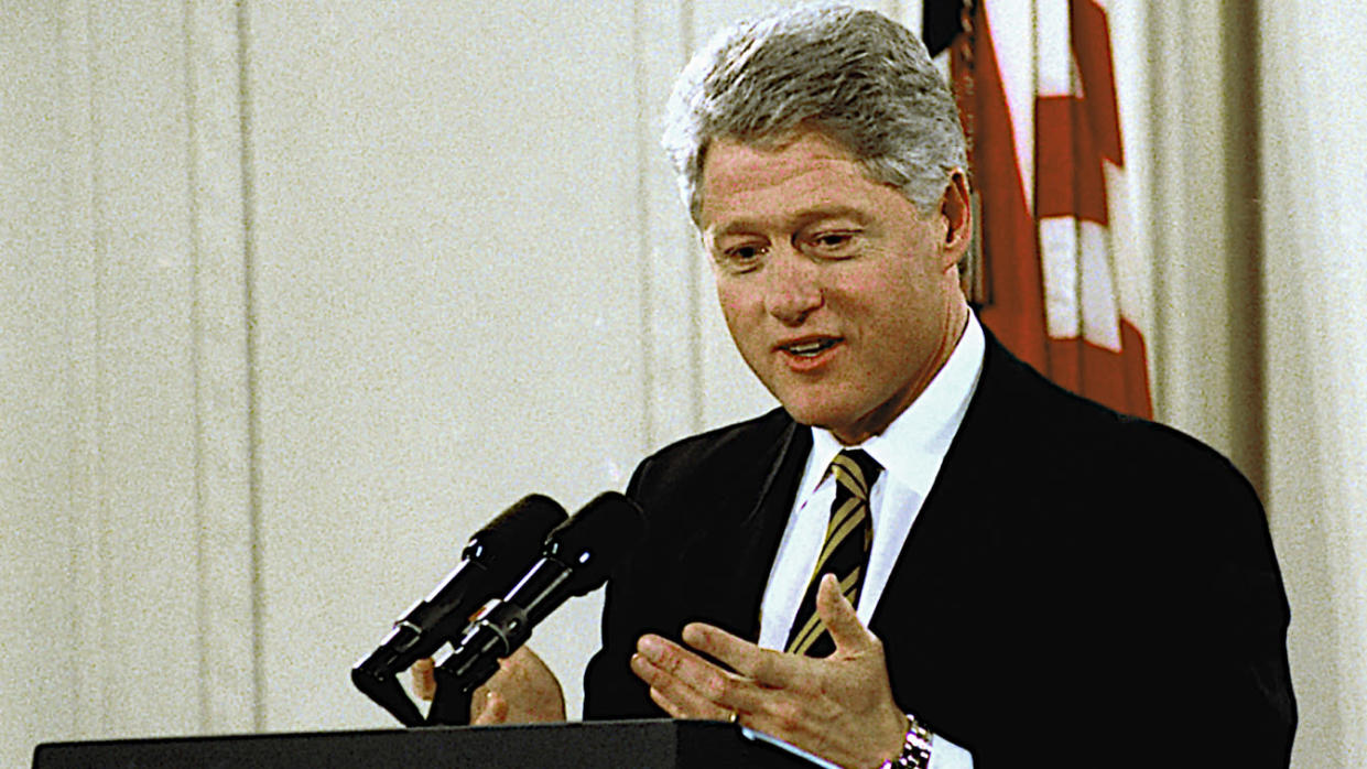 American politician US President Bill Clinton speaks during a press conference in the East Room of the White House, Washington DC, January 11, 1996. (Mark Reinstein/Corbis via Getty Images)