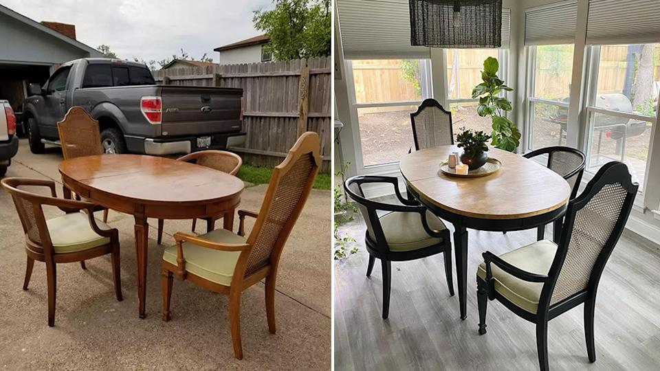 A side-by-side photo of a wooden dining table and four rattan chairs before and after restoration