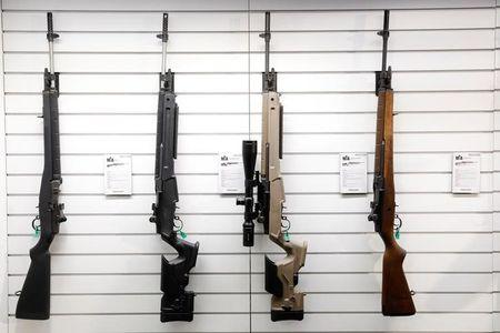 FILE PHOTO: Springfield Armory M1A rifles are displayed during the annual National Rifle Association (NRA) convention in Dallas, Texas