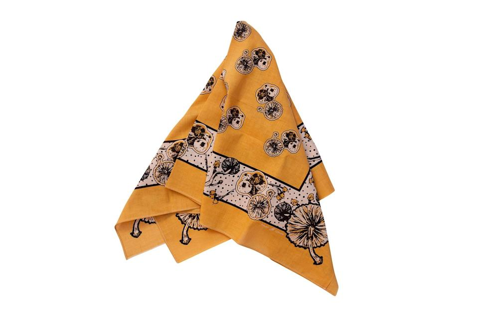 "$70, The Two Ears Brand. <a href=""https://twoearsbrand.com/the-two-ears-brand-store/the-one-ear-project-sincerity-huge-bandanna-gingko-gold"" rel=""nofollow noopener"" target=""_blank"" data-ylk=""slk:Get it now!"" class=""link rapid-noclick-resp"">Get it now!</a>"
