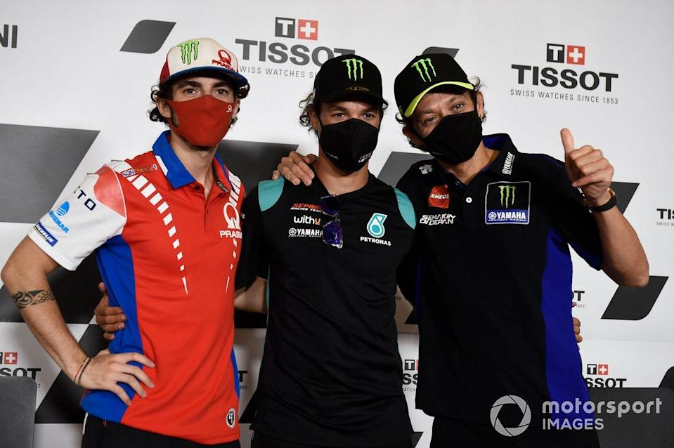 "Francesco Bagnaia, Pramac Racing, Franco Morbidelli, Petronas Yamaha SRT, Valentino Rossi, Yamaha Factory Racing<span class=""copyright"">Gold and Goose / Motorsport Images</span>"