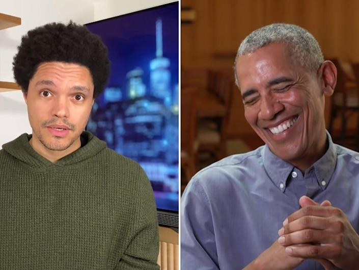 Trevor Noah and Barack Obama on The Daily Show on Monday (The Daily Show / YouTube)