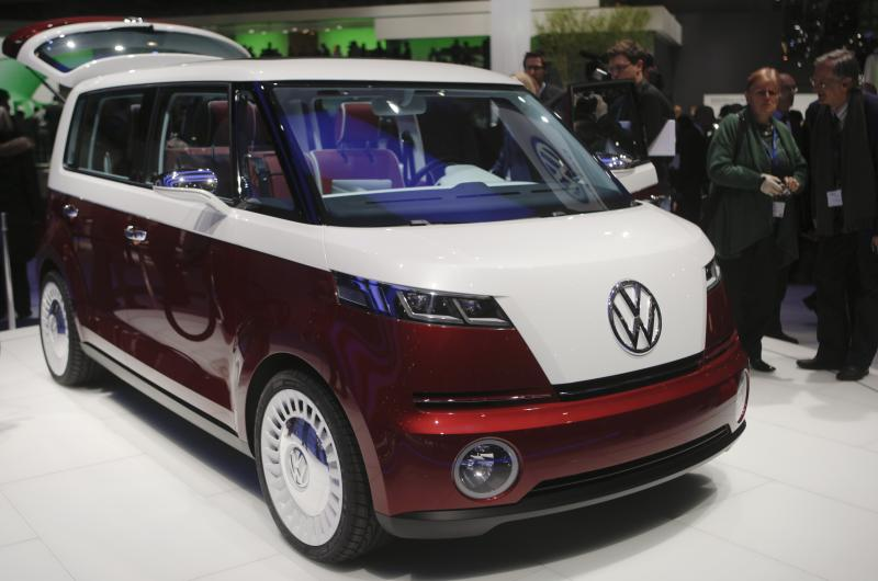 Volkswagen's Bulli concept car is presented during the press day of the 81st International Motor show in Geneva, Switzerland, Tuesday, March 1,  2011. The International Motor show will run from March 3 to 13. (AP Photo/Anja Niedringhaus)