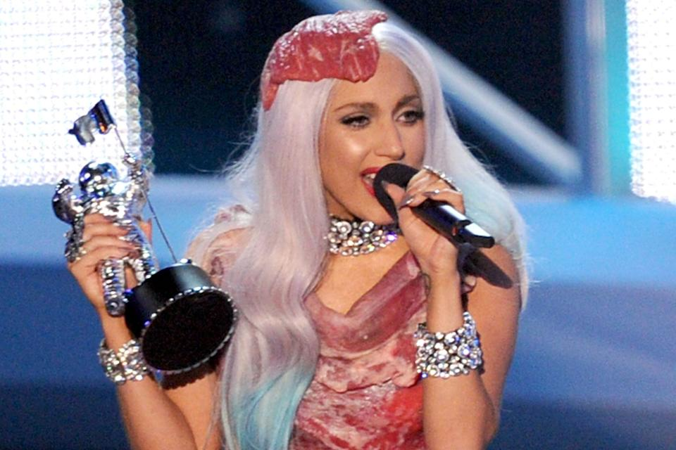 Lady Gaga making a statement in her beef dress at the 2010 MTV AwardsGetty Images