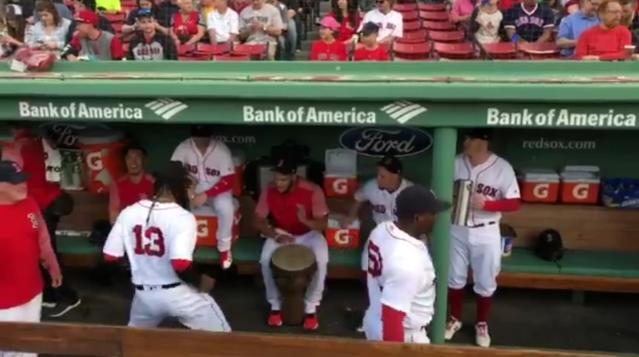Hanley Ramirez dances in the Red Sox dugout while Eduardo Rodriguez and Brock Holt give him a beat. (Twitter/@RedSox)