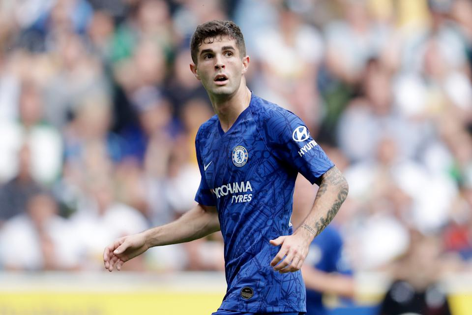MONCHENGLADBACH, GERMANY - AUGUST 3: Christian Pulisic of Chelsea FC during the Club Friendly   match between Borussia Monchengladbach v Chelsea at the Borussia Park on August 3, 2019 in Monchengladbach Germany (Photo by Laurens Lindhout/Soccrates/Getty Images)