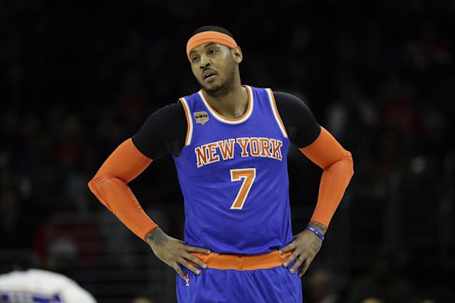 "<a class=""link rapid-noclick-resp"" href=""/nba/players/3706/"" data-ylk=""slk:Carmelo Anthony"">Carmelo Anthony</a> and the Knicks have now lost nine of their last 10 games. (AP)"