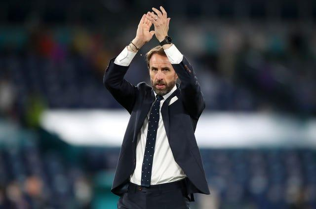 England manager Gareth Southgate applauds the fans after the Euro 2020 quarter-final against Ukraine