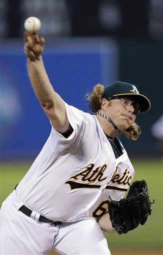 Oakland Athletics starting pitcher A.J. Griffin throws to the Texas Rangers during the fourth inning of a baseball game on Monday, May 13, 2013 in Oakland. Calif. (AP Photo/Marcio Jose Sanchez)