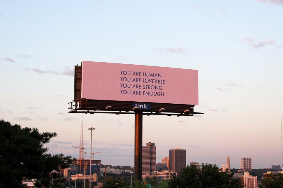 Kansas City-based artist Nicole Leth created this billboard to help prevent suicide after a close friend took their own life. (Credit: Caroline Adams)
