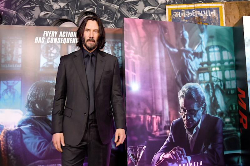 Reeves attends the John Wick special screenings at Ham Yard Hotel in London.