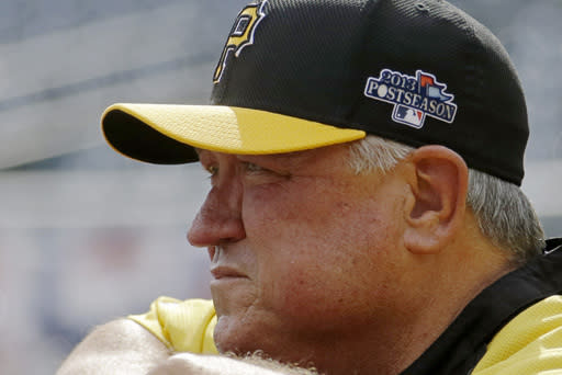 Pittsburgh Pirates manager Clint Hurdle leans on the batting cage as he watches batting practice before Game 3 of a National League Division Baseball Series on Sunday, Oct. 6, 2013 in Pittsburgh , PA (AP Photo/Gene J. Puskar)
