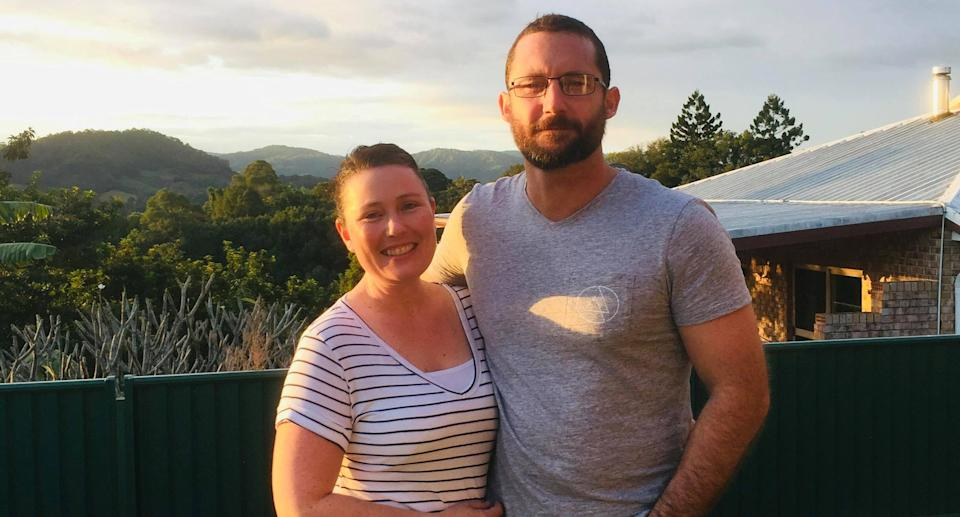 The last photo the couple took together in June before they were torn apart by WA's harsh border closure. Source: Supplied