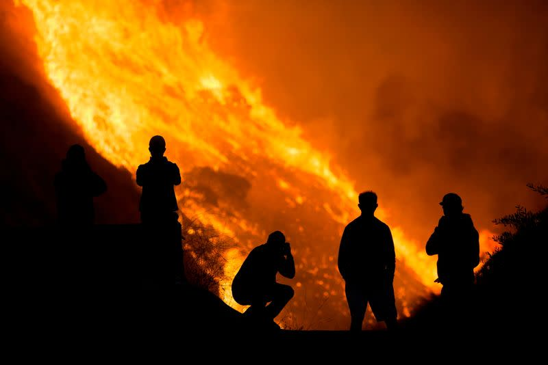 FILE PHOTO: Firefighters tackle the Blue Ridge Fire in Yorba Linda