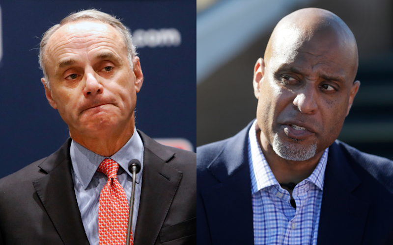 MLB Commissioner Rob Manfred and MLB Players Assn. union chief Tony Clark.