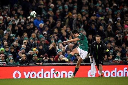 Rugby Union - Autumn Internationals - Ireland v Fiji - Aviva Stadium, Dublin, Republic of Ireland - November 18, 2017 Ireland's Joey Carbery kicks a conversion REUTERS/Clodagh Kilcoyne