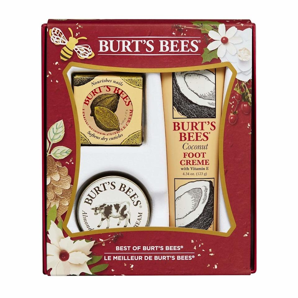 """<p>Go beyond lip balm with this three-piece gift set containing the best of Burt's Bees <em>other</em> nourishing products. The festive packaging contains Milk Hand Cream, Coconut Foot Cream, and Lemon Butter Cuticle Cream, all for just $25.</p> <p><strong>$25</strong> (<a href=""""https://www.amazon.com/Burts-Bees-Best-Gift-Products/dp/B01KTSOKJ4"""" rel=""""nofollow"""">Shop Now</a>)</p>"""