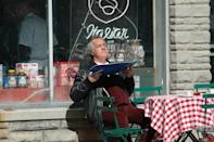 <p>Tony Sirico gets some rays, while filming on location outside of Satriale's Pork Store in Kearny, New Jersey. </p>