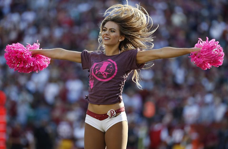 <p>A Washington Redskins cheerleader performs in the second half of an NFL football game between the Redskins and the Philadelphia Eagles, Sunday, Oct. 16, 2016, in Landover, Md. (AP Photo/Alex Brandon) </p>