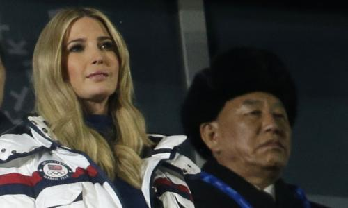 """<span class=""""element-image__caption"""">Ivanka Trump and Kim Yong Chol, the leader of the North Korean delegation, at the closing ceremony of the Winter Olympics on Sunday.</span> <span class=""""element-image__credit"""">Photograph: Natacha Pisarenko/AP</span>"""