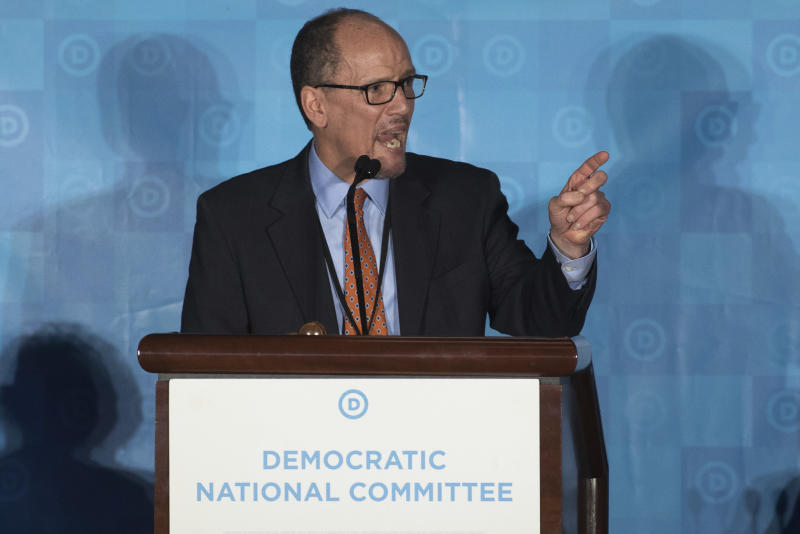 """FILE - In this Feb. 25, 2017 file photo, Tom Perez, speaks in Atlanta. As Democrats look to reverse Republicans' monopoly control in Washington and the GOP advantage in state capitals, the party is still looking for a crisp, simple message for voters. """"We know that we can be an America that works for everyone, because we believe that our diversity is our greatest strength. ... And we believe that when we put hope on the ballot we do well, and when we allow others to put fear in the eyes of people we don't do so hot,"""" said Perez.(AP Photo/Branden Camp, File)"""