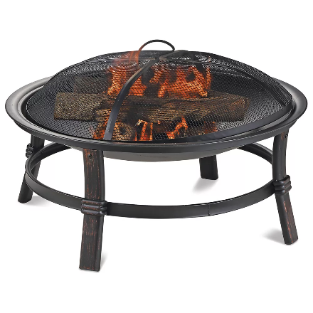ENDLESS SUMMER Brushed Copper Wood Burning Fire Bowl. (Image via The Home Depot)