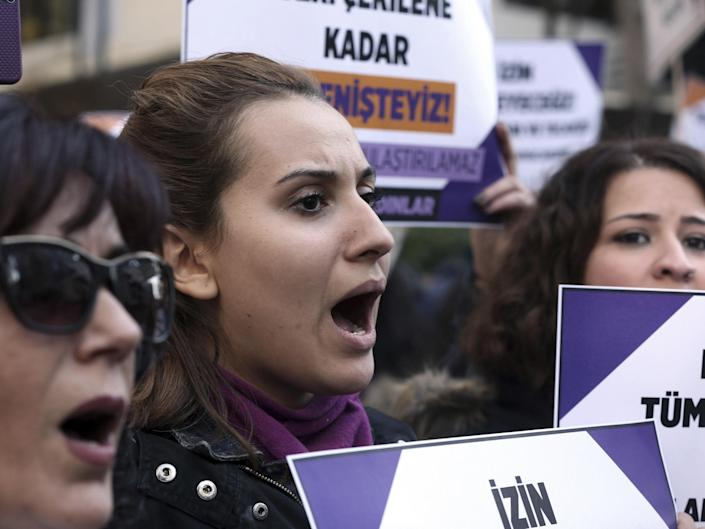 Turkish women stage a protest in Ankara against the bill which critics say is an 'amnesty for rape', a claim the ruling AKP dispute: AP