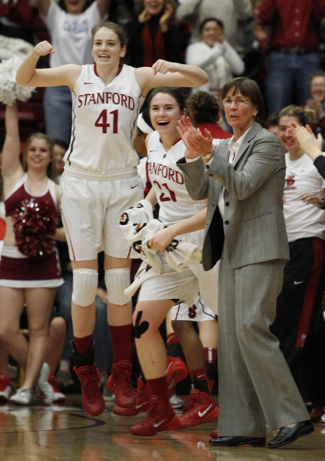 Stanford's Bonnie Samuelson (41), Sara James (21) and head coach Tara VanDerveer react at the end of the first half of an NCAA college basketball game against California, Thursday, Jan. 30, 2014 in Berkeley, Calif. (AP Photo/George Nikitin)