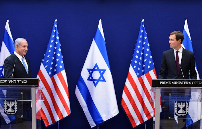 Israeli Prime Minister Benjamin Netanyahu, left, and White House adviser Jared Kushner on Aug. 30, 2020, in Jerusalem, Israel.