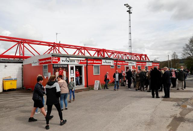 "Soccer Football - League Two - Accrington Stanley v Lincoln City - Wham Stadium, Accrington, Britain - April 28, 2018 A general view outside the stadium Action Images/Andrew Boyers EDITORIAL USE ONLY. No use with unauthorized audio, video, data, fixture lists, club/league logos or ""live"" services. Online in-match use limited to 75 images, no video emulation. No use in betting, games or single club/league/player publications. Please contact your account representative for further details."