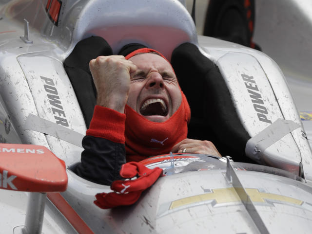 Will Power, of Australia, celebrates after winning the Indianapolis 500 auto race at Indianapolis Motor Speedway in Indianapolis, Sunday, May 27, 2018. (AP Photo/Darron Cummings)