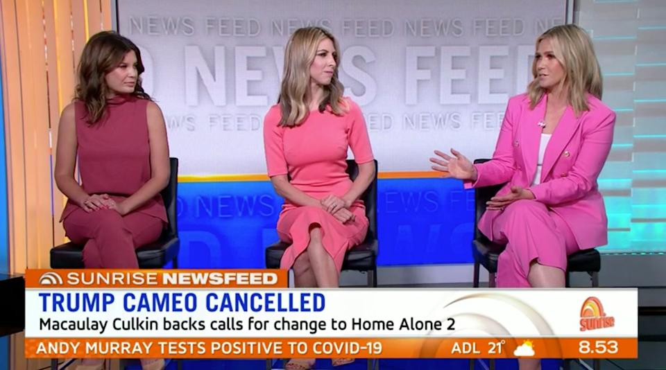 Edwina Bartholomew (R) was asked Friday on 'Sunrise' if Donald Trump is attractive. (Photo: Channel 7)