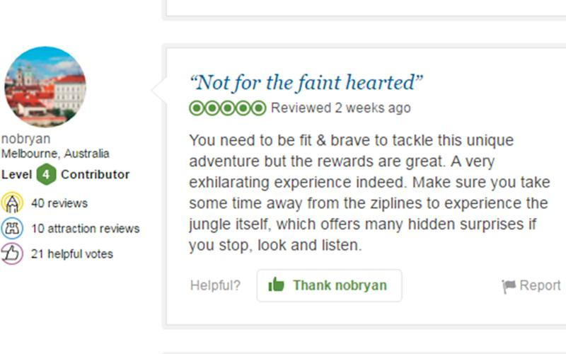 A recent review for the Gibbon Experience which is rated very highly on TripAdvisor