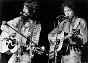 <p>George Harrison and Bob Dylan perform onstage at the Concert for Bangladesh at Madison Square Garden on August 1, 1971 in New York City.</p>