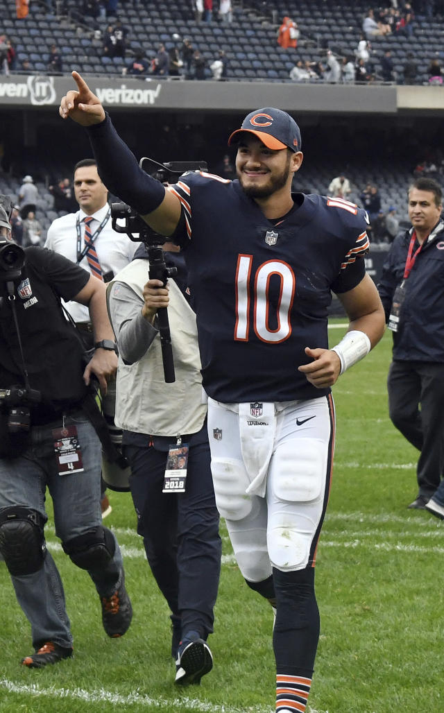Chicago Bears quarterback Mitchell Trubisky (10) celebrates after an NFL football game against the Tampa Bay Buccaneers Sunday, Sept. 30, 2018, in Chicago. The Bears won 48-10. (AP Photo/David Banks)