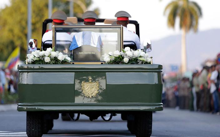 <p>DEC. 4, 2016 — The ashes of Fidel Castro leave the Antonio Maceo plaza for its burial in a private funeral ceremony at the Santa Ifigenia cemetery in Santiago, Cuba. (AP Photo/Natacha Pisarenko) </p>