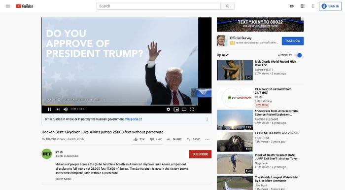 trump russia china youtube ads