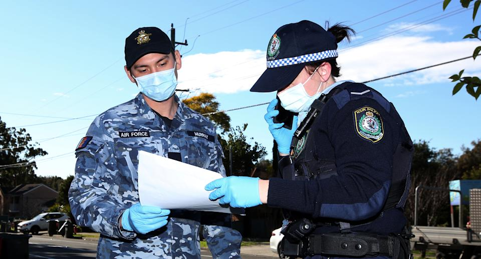 NSW Police and ADF conducting COVID compliance checks in western Sydney. Source: NSW Police