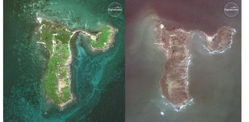 Aerial photos of Cayo Santiago before and after the storm.