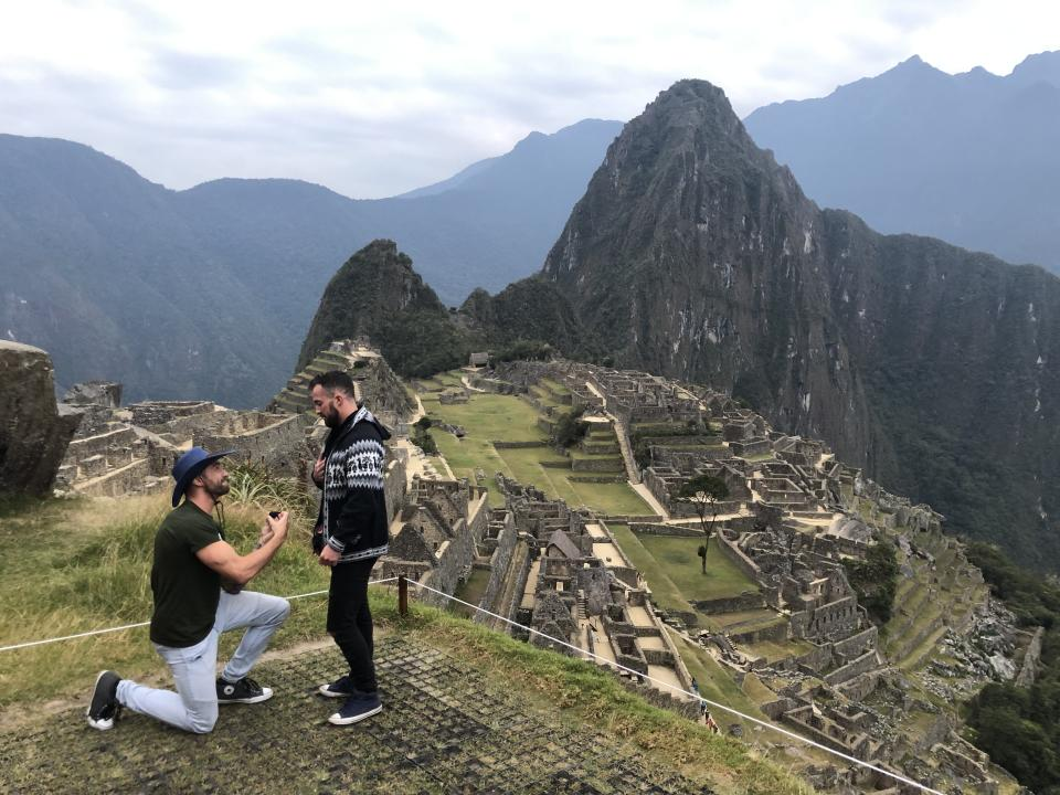 The couple's engagement in Peru. (Photo courtesy of Brock Dalgleish)