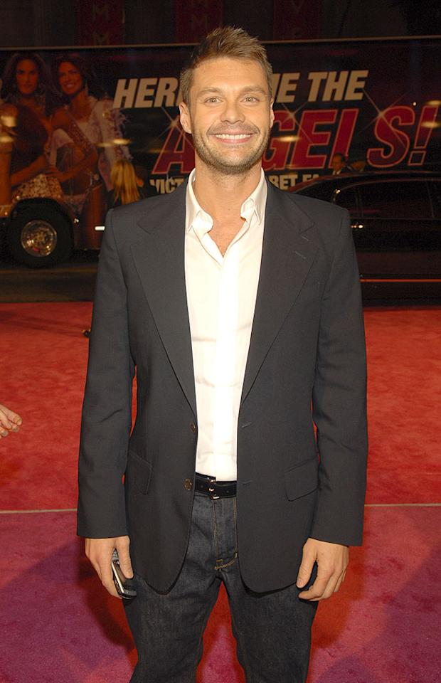 "Judging from Ryan Seacrest's ear-to-ear grin, the TV/radio personality is obviously very excited to see the Victoria's Secret Angels. Kevin Mazur/<a href=""http://www.wireimage.com"" target=""new"">WireImage.com</a> - November 15, 2007"