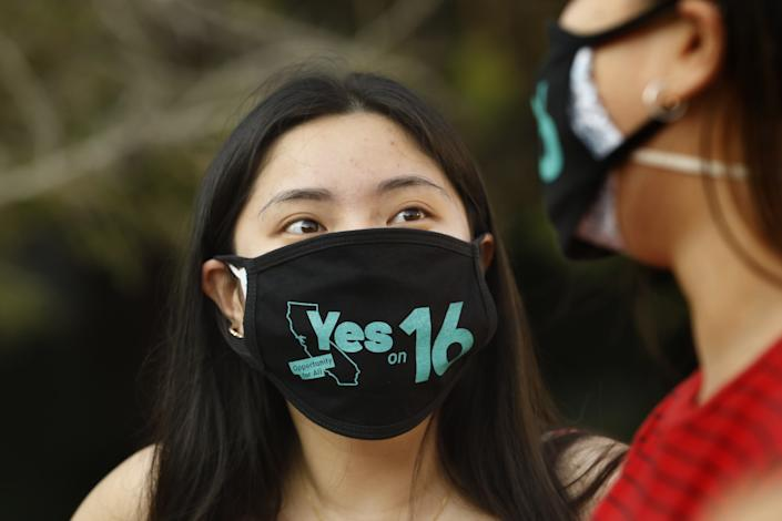 Amy Ho, a UCLA student, supports Proposition 16, which would repeal the statewide ban on affirmative action.