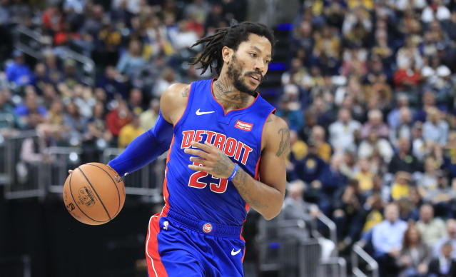 """<a class=""""link rapid-noclick-resp"""" href=""""/nba/players/4387/"""" data-ylk=""""slk:Derrick Rose"""">Derrick Rose</a> is looking resurgent thus far this season. (Photo by Andy Lyons/Getty Images)"""