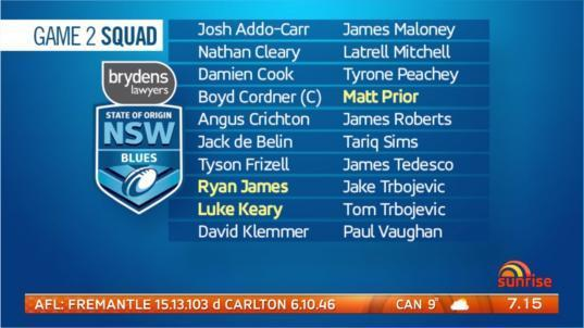 Ryan James, Luke Keary and Matt Prior are in and Reagan Campbell-Gillard will miss the rest of the series with a broken jaw.