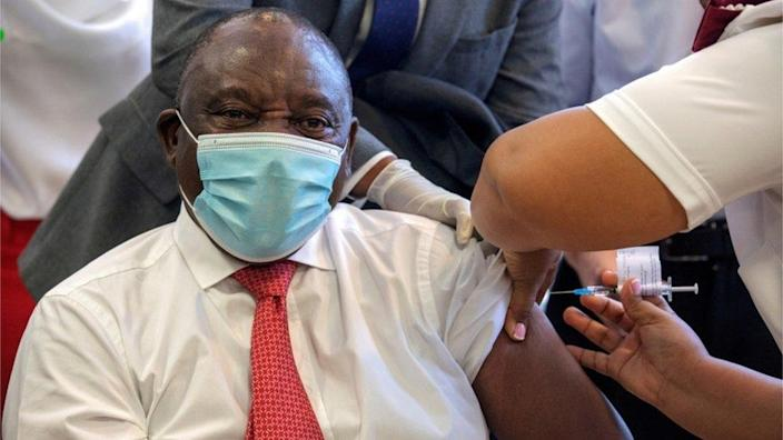 South African President Cyril Ramaphosa receives the Johnson and Johnson vaccination at the Khayelitsha Hospital near Cape Town, South Africa, February 17, 2021.