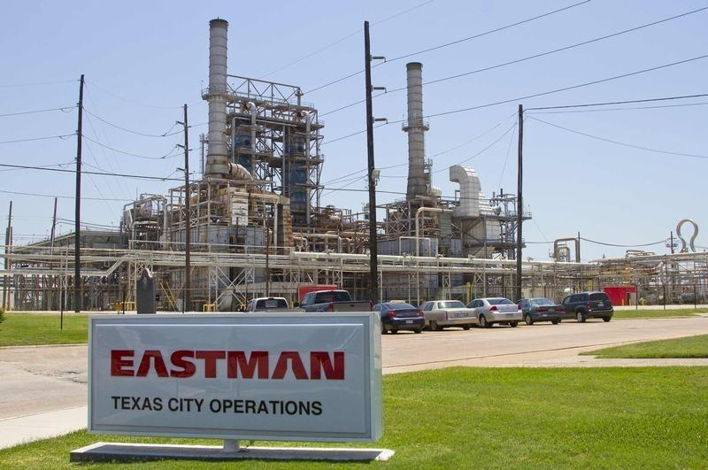 An Eastman Chemical company sign stands outside the recently renovated chemical plant in Texas City