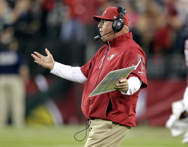 Arizona Cardinals coach Bruce Arians yells to to officials during the first half of an NFL football game against the Seattle Seahawks, Thursday, Oct. 17, 2013, in Glendale, Ariz. (AP Photo/Rick Scuteri)