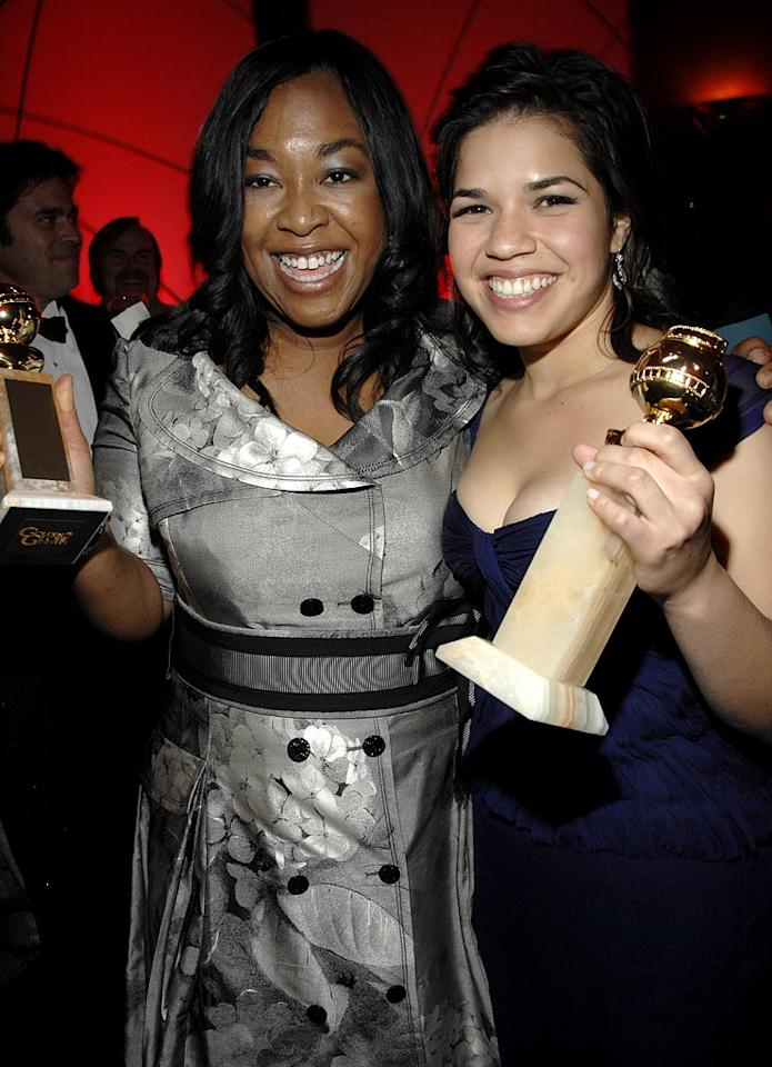 """<a href=""""/shonda-rhimes/contributor/1119853"""">Shonda Rhimes</a> and <a href=""""/america-ferrera/contributor/1126510"""">America Ferrera</a> at the In Style and Warner Bros. 2007 Golden Globe After Party."""