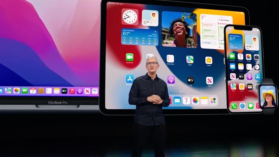 Apple CEO Tim Cook unveils new updates for iOS 15, iPadOS 15, WatchOS 8, and macOS 12 Monterey.