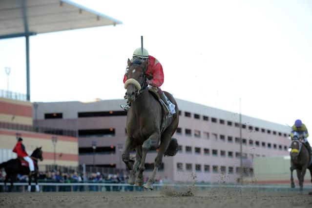 In this photo provided by the New York Racing Association, Wicked Strong, with Rajiv Maragh aboard, captures The Wood Memorial Stakes horse race at Aqueduct Race Track in New York, Saturday, April 5, 2014. (AP Photo/New York Racing Association, Adam Coglianese)